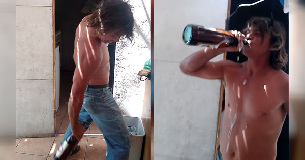 This amazing human being can open a beer with his butt cheeks.