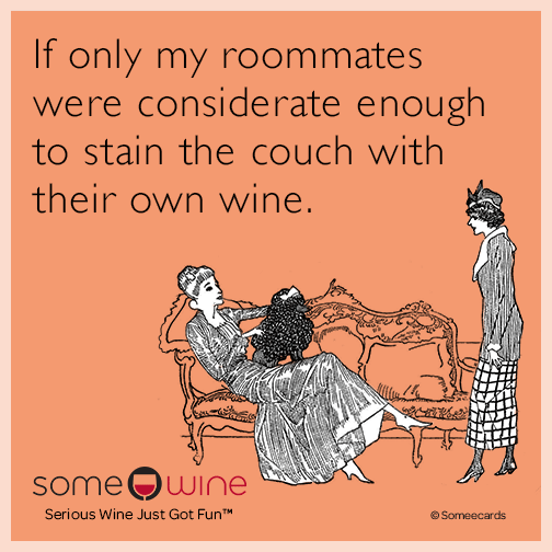 If only my roommates were considerate enough to stain the couch with their own wine.