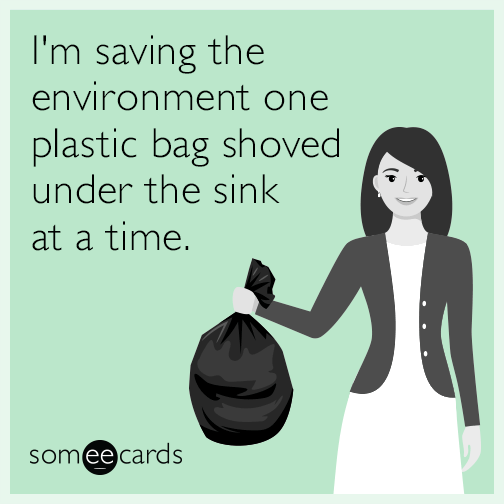 I'm saving the environment one plastic bag shoved under the sink at a time.