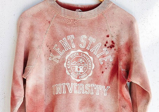 """Urban Outfitters tries to make dead college kids cool by selling """"vintage"""" blood-spattered Kent State sweatshirt."""