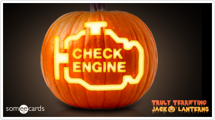 someecards.com - Truly Terrifying Jack O' Lantern: Car trouble.