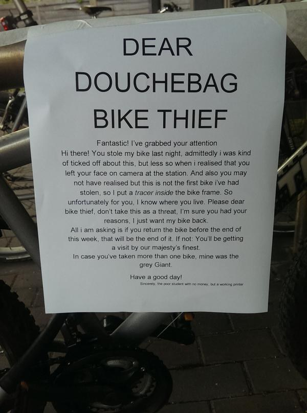 "Victim of ""douchebag bike thievery"" seeks sweet sweet revenge."