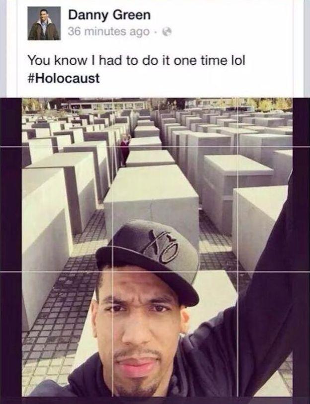 San Antonio Spurs player tweets selfie at Berlin Holocaust memorial, gets caught editing his insensitive caption.