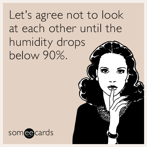 Let's agree not to look at each other until the humidity drops below 90%.