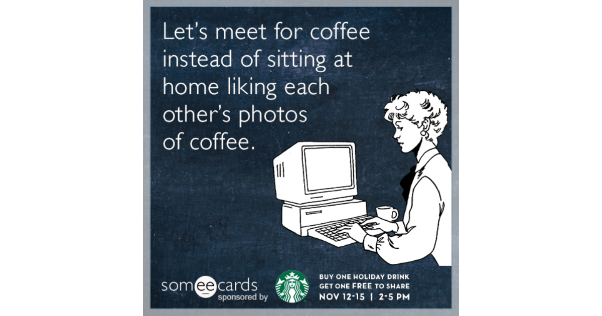 starbucks holiday ecards, free starbucks holiday cards, funny, Greeting card