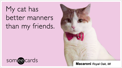 someecards.com - My cat has better manners than my friends.