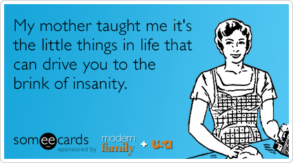 My mother taught me it's the little things in life that can drive you to the brink of insanity.