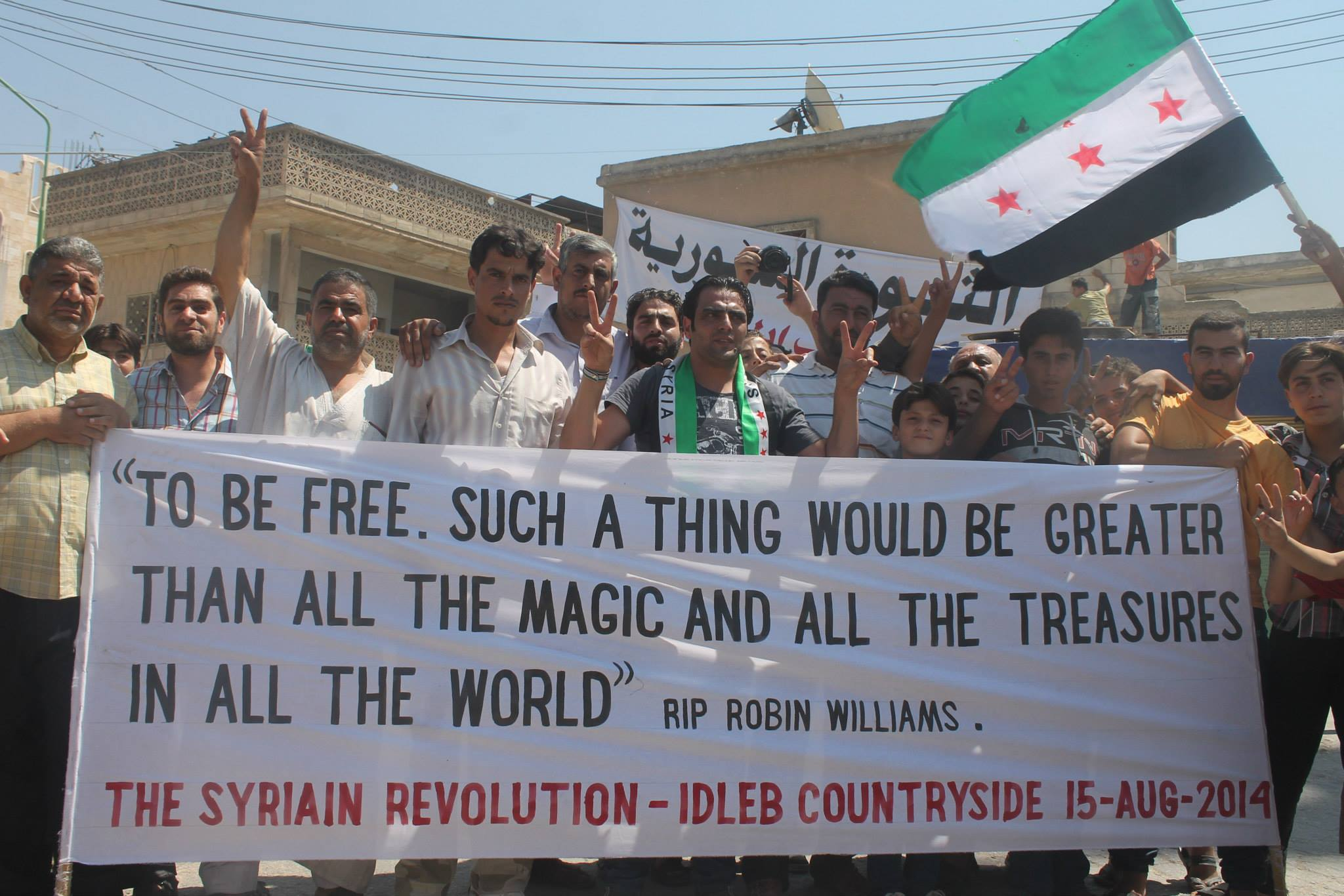 Syrian rebels (the good kind) took time out of opposing Assad to salute Robin Williams.