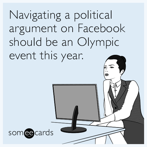 Navigating a political argument on Facebook should be an Olympic event this year.