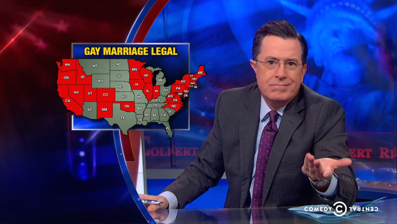 Colbert finally comes around on gay marriage right before his show ends.