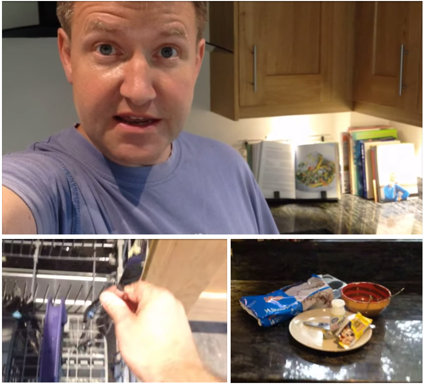 Dad makes video to sarcastically explain to his teenage kids how to load the dishwasher.