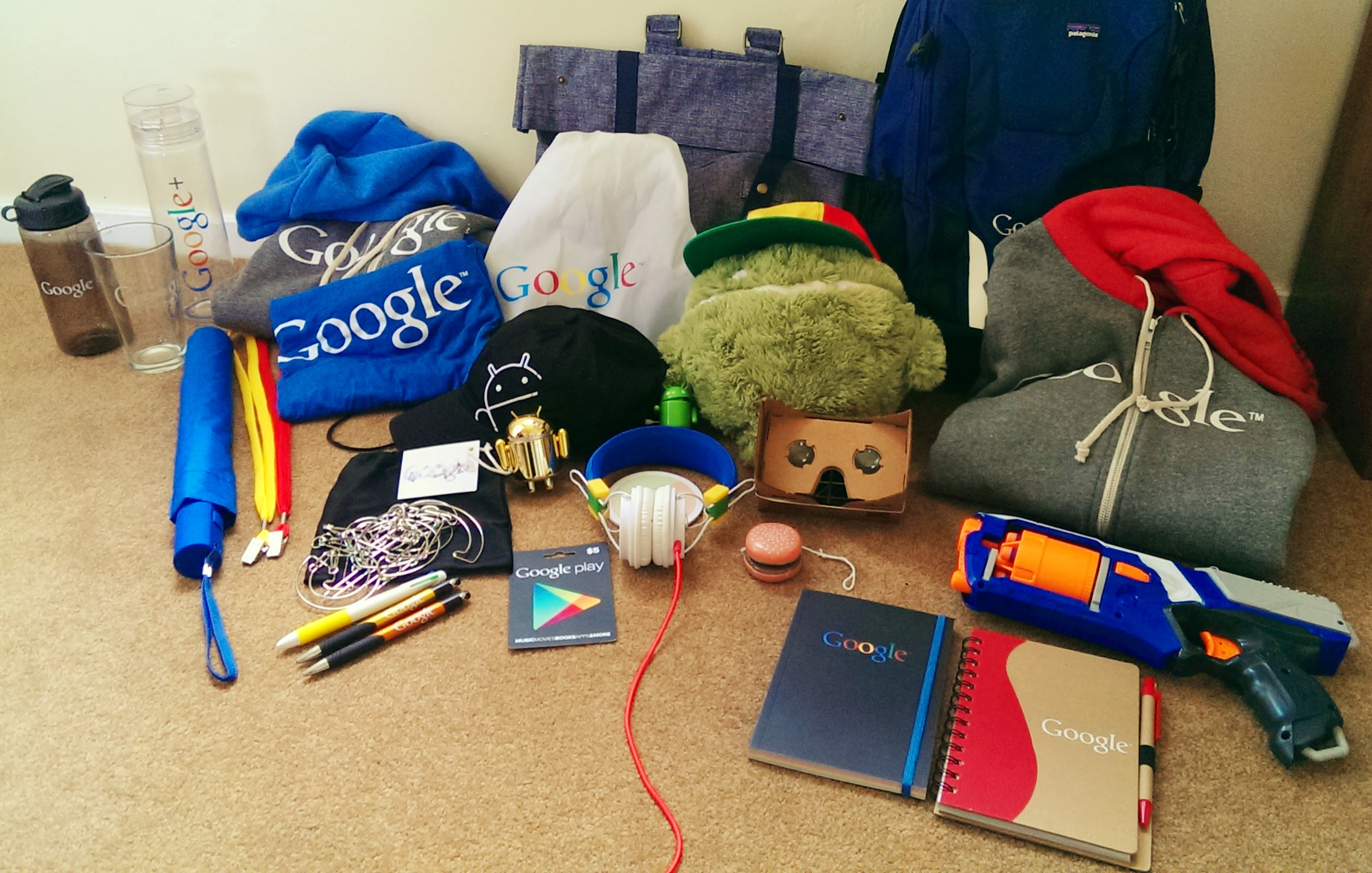 A Google intern posted a photo of all the free stuff they got. Jealous interns of other companies responded.