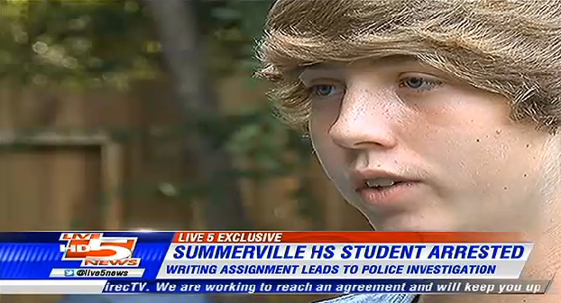 High school student arrested for writing about killing a dinosaur.
