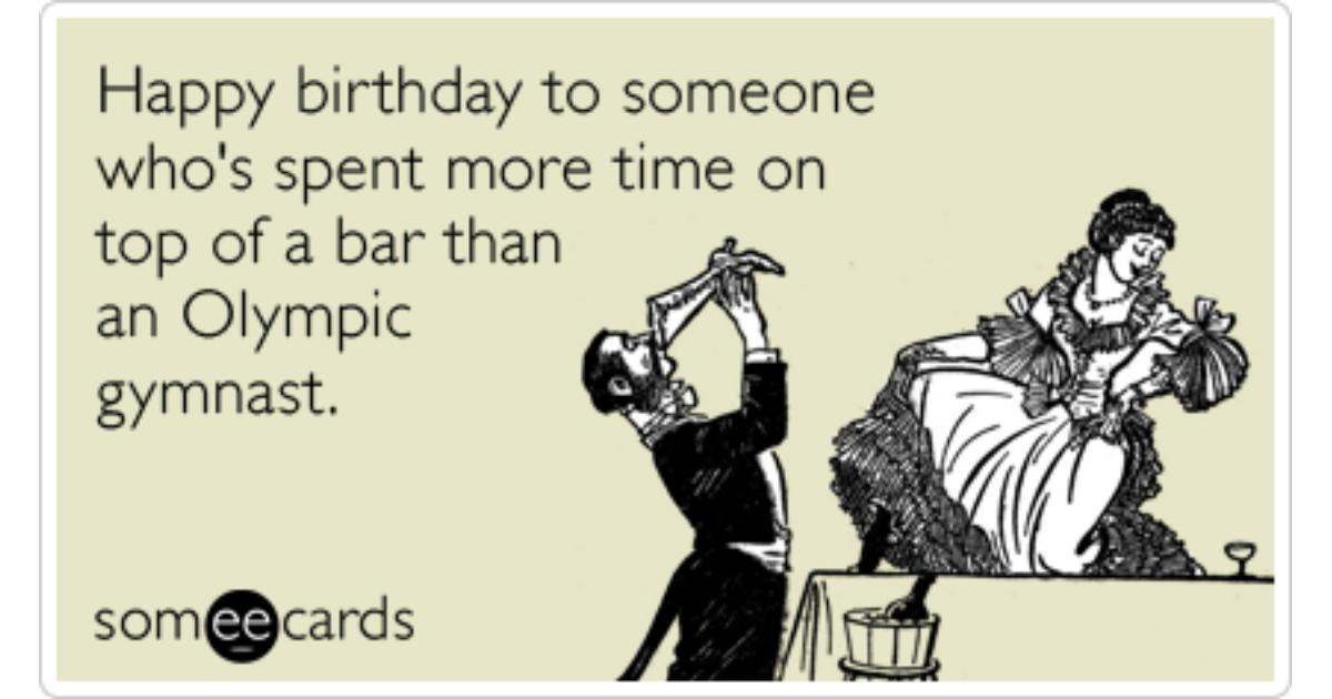 Birthday Bar Gymnast Olympics Funny Ecard Birthday Ecard