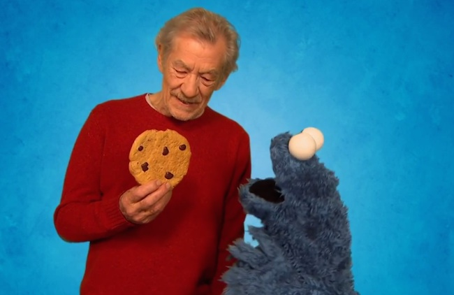 Sir Ian McKellen stopped by Sesame Street to teach Cookie Monster a lesson in will power.
