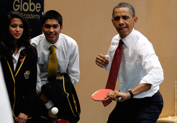 A photograph of the President playing ping pong has started a photoshop battle.