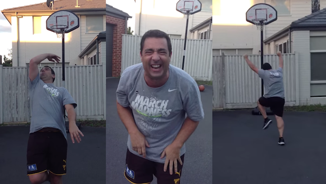 Dad wins huge bet with his daughter by hitting a miracle basketball shot.