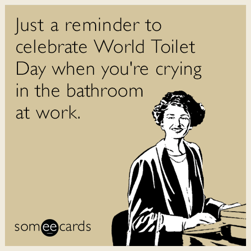 Just a reminder to celebrate World Toilet Day when you're crying in the bathroom at work.
