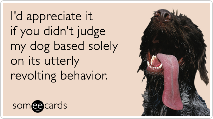 someecards.com - I'd appreciate it if you didn't judge my dog solely on its utterly revolting behavior.