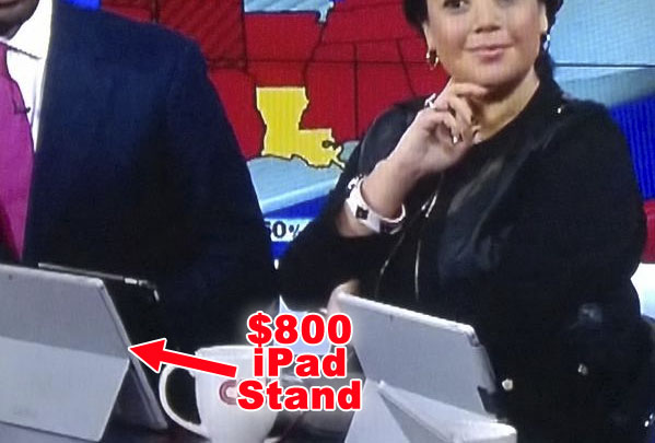 CNN commentators were caught using their sponsored Microsoft tablets as iPad stands.