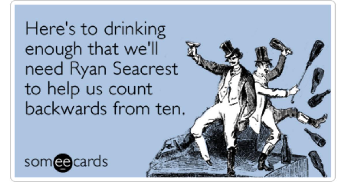 New Years Eve Ryan Seacrest Drink Funny Ecard | New Year\'s Ecard