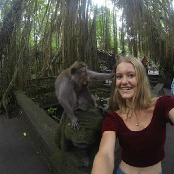 This woman attempted a selfie with a monkey and did not get the shot she wanted.