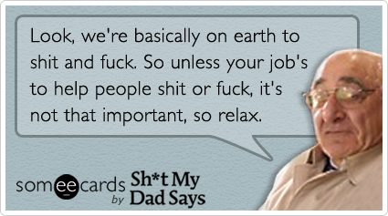 Look, we're basically on earth to shit and fuck. So unless your job's to help people shit or fuck, it's not that important, so relax.