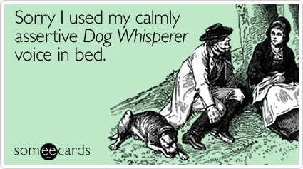 Sorry I used my calmly assertive Dog Whisperer voice in bed