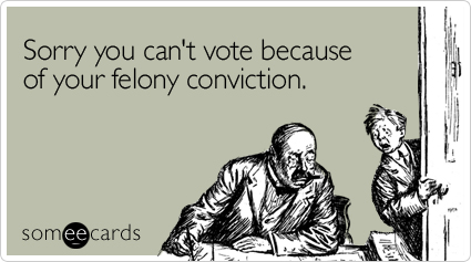 Sorry you can't vote because of your felony conviction