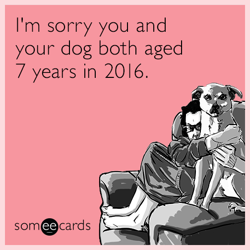 I'm sorry you and your dog both aged 7 years in 2016.