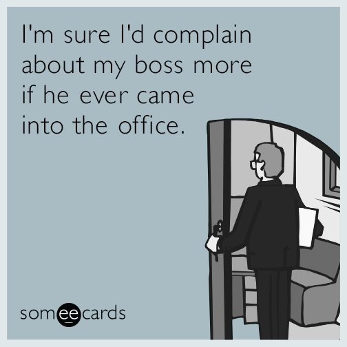 I'm sure I'd complain about my boss more if he ever came into the office.