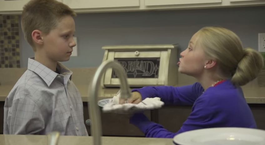 Two little kids acted out the dialogue from an actual elderly couple's argument about washing dishes.