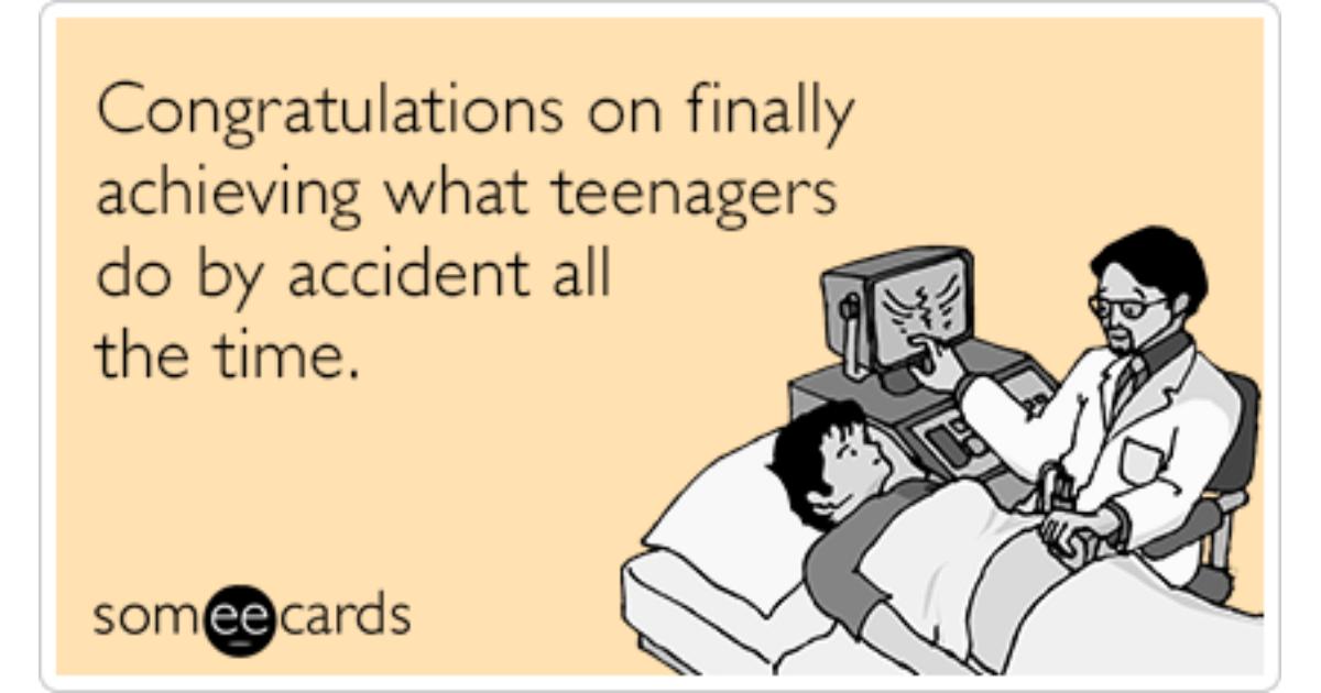 Teenage Pregnant Congrats Funny Ecard | Pregnancy Ecard