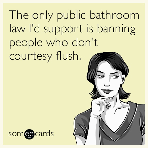 The only public bathroom law I'd support is banning people who don't courtesy flush.
