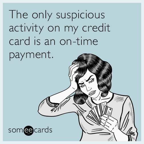 The only suspicious activity on my credit card is an on-time payment.