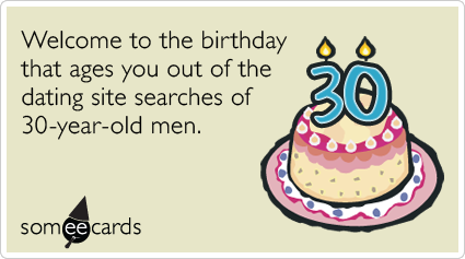 Welcome To The Birthday That Ages You Out Of Dating Site Searches 30 Random Card