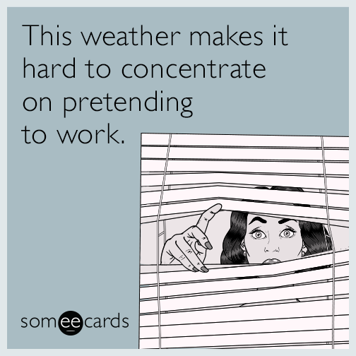 This weather makes it hard to concentrate on pretending to work.