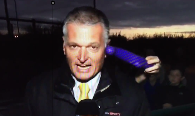 A sports reporter took a dildo to the side of his face during a live report.