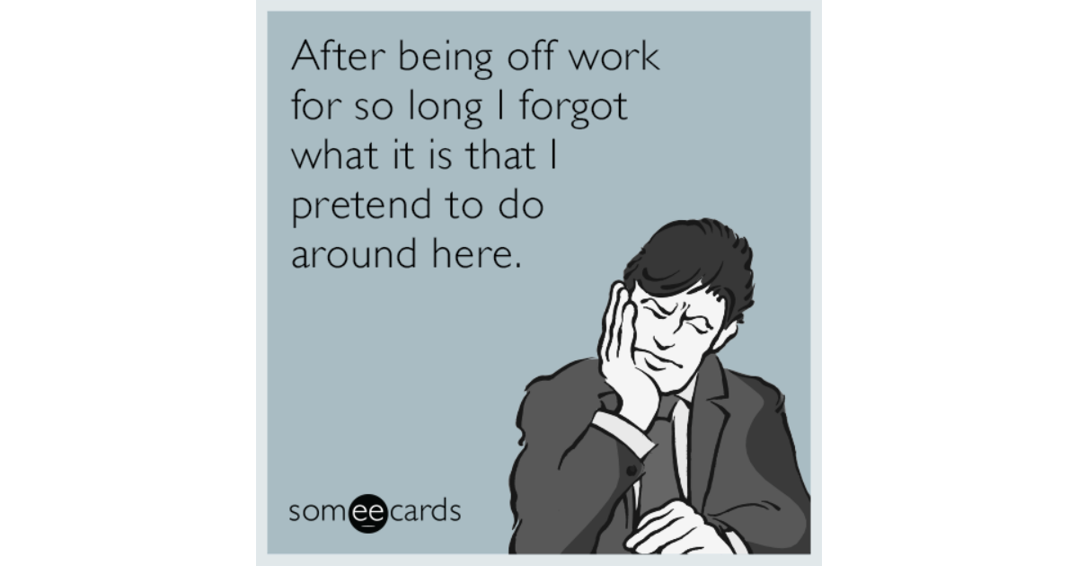 Funny Someecards : After being off work for so long i forgot what it is that i pretend