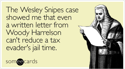 The Wesley Snipes case showed me that even a written letter from Woody Harrelson can't reduce a tax evader's jail time
