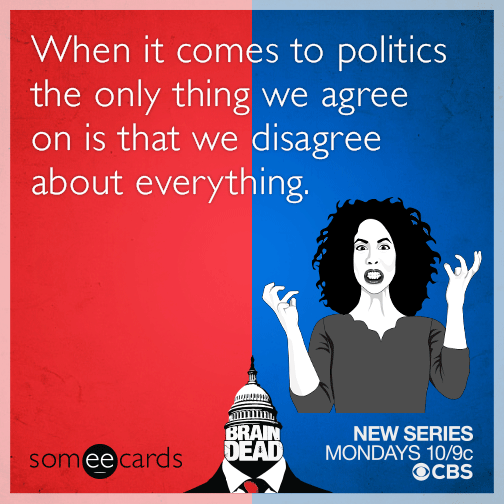When it comes to politics the only thing we agree on is that we disagree about everything.