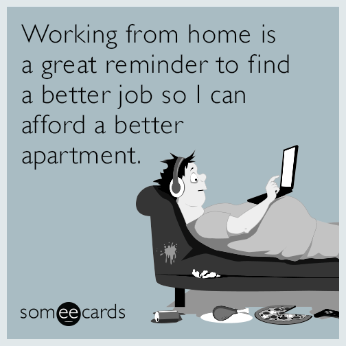Working from home is a great reminder to find a better job so I can afford a better apartment.
