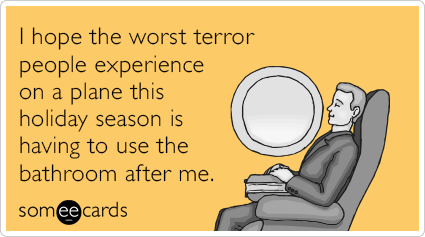 I hope the worst terror people experience on a plane this holiday season is having to use the bathroom after me.