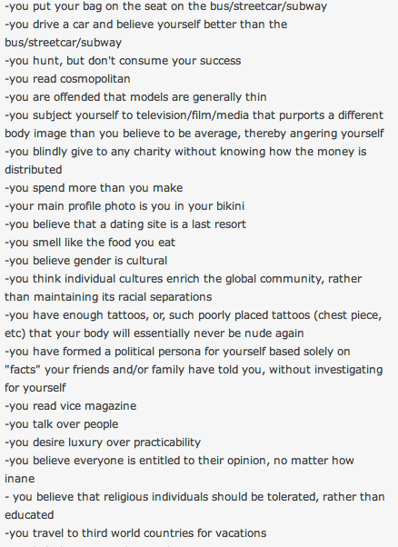 "This guy's insane ""Don't message me if..."" list on OK Cupid probably rules you out. He's that good."