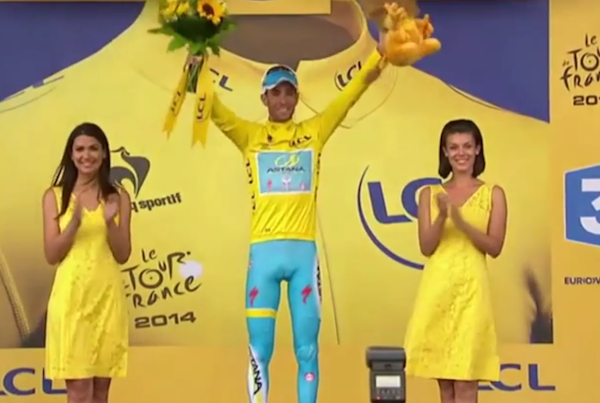 A Tour de France Stage winner was snubbed by a podium girl when he went for a kiss.