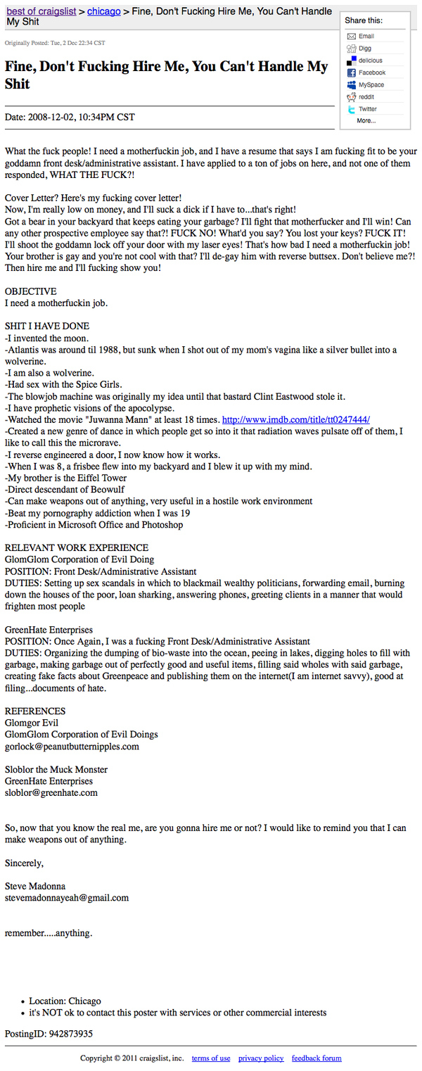 Craigslist Job Posting Fine Don\'t Fucking Hire Me | Someecards Workplace