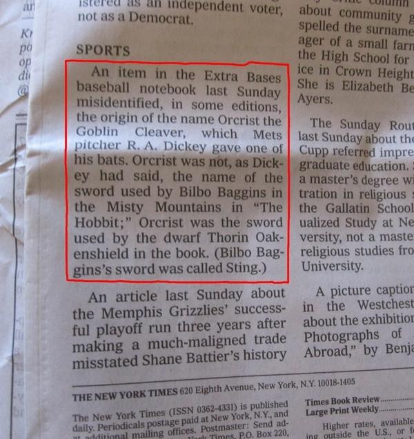 [UPDATE] World's nerdiest newspaper corrections.
