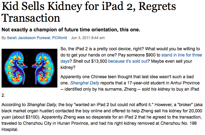 Chinese teen takes Apple worship to psychotic new level.