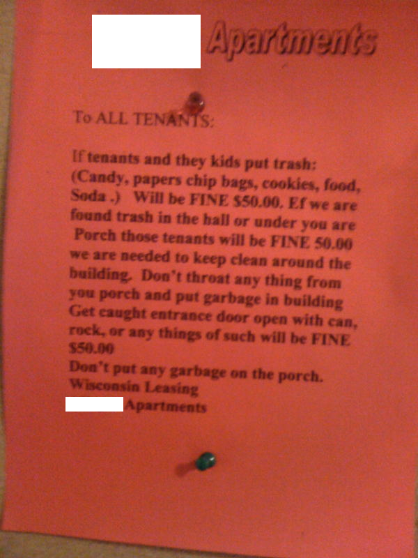Perhaps The Greatest Catastrophe Of Spelling And Grammar Ever Posted In An  Apartment Building Lobby.