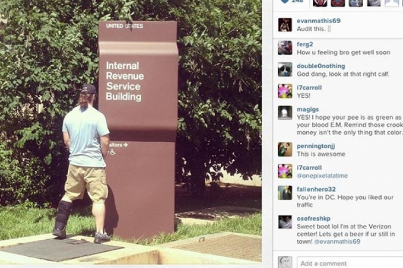 NFL player provides urine sample to IRS sign.